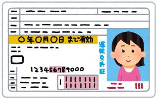 マダムライブ登録で使える身分証の例、運転免許証